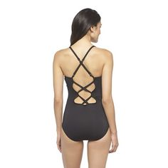 Solid X-Back One Piece Swimsuit- Clean Water