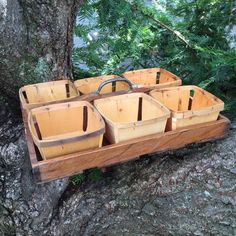 """Berry Baskets with Tray $105.00  Beautiful vintage wooden tray that holds 6 balsa wood berry baskets.  Tray has a metal handle.  It measures: 17"""" L x 13"""" w x 7"""" H"""