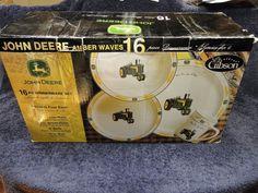 John Deere Amber Waves 16 Piece Dinnerware Set Dishes Plates Gibson Original Box & Gibson 16 Piece Heavy JOHN DEERE Stoneware DINNERWARE Set New in ...