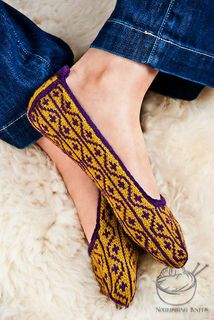 """""""Masala"""" - These adventurous seamless slippers are knit both flat and in the round."""