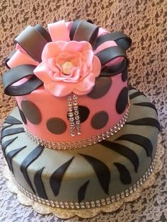 Special 25th Birthday Bday Cake Animal Print and BLING, designed by Patsy's Sweet Shoppe in West Allis, WI.