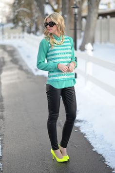 obsessed with the sequins, aqua, stripes and pops of neon!