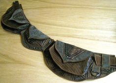 Brown and Grey Starburst - Pocket Belt - Utility belt - Festival belt - Hip bag - Money belt - Tribal - Bohemian - Burning man