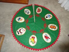 Vintage Christmas Tree Skirt ~ Handmade Green Felt w/ Embroidered Cameos and Red Ball Trim. ~~This is a beautiful piece!
