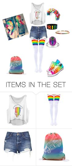 """GAY PRIDE flag costume by lizziejadef ❤ liked on Polyvore featuring art"