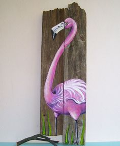Flamingo Hand Painted on Wood Reclaimed Fence Boards: