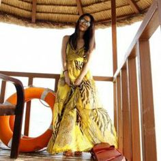$12.29 Leopard Pattern Spaghetti Strap Plunging Neck Backless Yellow Imitated Silk Maxi Dress For Women