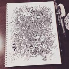 Ideas Flowers Art Drawing Doodles Inspiration For 2019 Ink Doodles, Flower Doodles, Pencil Art Drawings, Doodle Drawings, Ant Drawing, Zentangle Patterns, Zentangles, Doodle Art Journals, Tangle Art