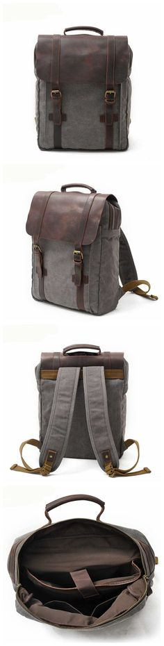 Handmade Waxed Canvas Backpack School Backpack Travel…