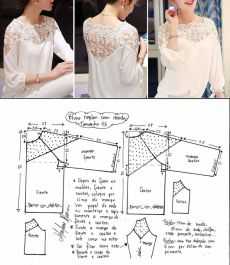 Blouse pattern with a lacy rate (Sewing and a cut) Girls Bikini Bottoms, Shirt Dress Tutorials, Sewing Blouses, Tostadas, Fashion Sewing, Blouse Patterns, Top Pattern, Street Chic, White Lace
