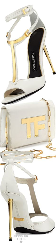 Tom Ford ~ White Leather Peep Toe Sandals w Gold Accents  + Leather Shoulder Bag 2015