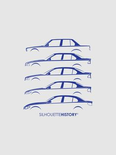 Bavarian Dreier Sedans SilhouetteHistory Silhouettes of the mid-category BMW four-door 3-series: E30, E36, E46, E90 and F30. Created by ykcky using the Bavarian Dreier Coupes SilhouetteHistory artwork.