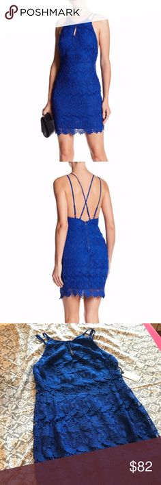 ASTR the Label Blue Strappy Lace Bodycon Dress Ultra sexy lace bodycon dress with a strappy open back. Keyhole opening at front of high neck, but turns around to a wide open back. Beautiful vibrant blue color. Brand new with tags! Astr Dresses Mini