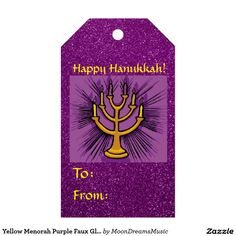 #YellowMenorah #PurpleFauxGlitter #HanukkahGiftTags by #MoonDreamsMusic