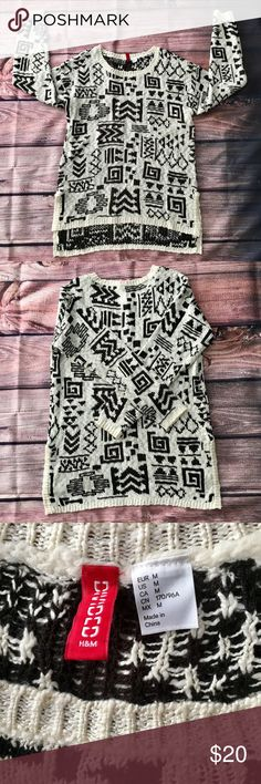 Divided by H&M tribal pattern sweater Black and cream tribal pattern sweater, super cute and comfortable, really cute tribal print, perfect for fall/winter, perfect with leggings or skinny jeans, fits long. H&M Sweaters Crew & Scoop Necks