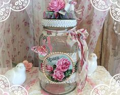 Altered bottle/ jar, shabby chic roses, Mother's Day or Birthday gift