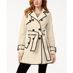 Betsey Johnson Petite Corset-Back Skirted Trench Coat ($100) ❤ liked on Polyvore featuring outerwear, coats, petite trench coat, pink coat, betsey johnson, betsey johnson coats and trench coat