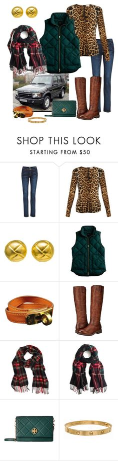"""Pattern Mixing"" by southern-pearl ❤ liked on Polyvore featuring Hudson Jeans, Yves Saint Laurent, Hermès, J.Crew, Frye, Barbour, Tory Burch and Cartier"