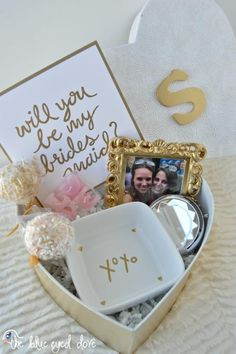 An easy and inexpensive gift idea for asking each of your bridesmaids to be in your wedding.