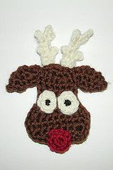 Reindeer Head Ornament pattern by Sandi Marshall Reindeer Head Ornament by Sandi Marshall - Free Pattern Christmas Applique, Crochet Christmas Ornaments, Christmas Crochet Patterns, Holiday Crochet, Christmas Crafts, Xmas, Christmas Decorations, Reindeer Head, Reindeer Ornaments