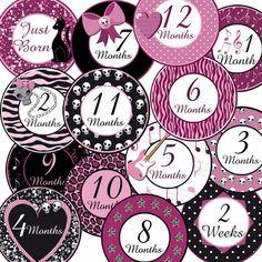 DIY PRINTABLE Baby Girl Rocker Monthly Milestone Onesie Stickers