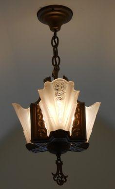 AMAZING VINTAGE ART DECO CHROME CEILING LIGHT FIXTURE STARBURST ...