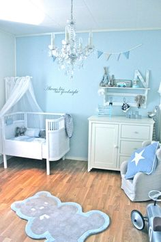 Baby boy blue nursery....pretty but maybe just a little too much blue!
