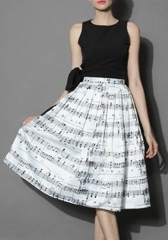 White Floral Pleated Knee Length Fashion Dacron Skirt