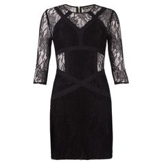 Neely Dress (9,170 INR) ❤ liked on Polyvore featuring dresses, vestidos, short dresses, robes, jet black, tight dresses, sheer bodycon dress, see through dress, sheer mini dress and short lace dress