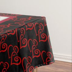 Red and Black Heart Tablecloth