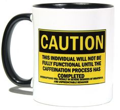 Unique Coffee/Tea Mug With Funny Caution Label - Cool Two Tone 11oz Ceramic Cup Design - Perfect Humorous Birthday Gift Idea for Men and Women >>> Don't get left behind, see this great product : Coffee Mugs