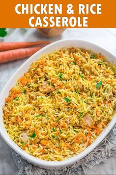Chicken Rice Casserole Recipe & Video This simple and easy Chicken Rice Casserole makes an elegant and tasty dinner. Made with onions, carrots, basmati rice, and chicken you won't believe how delicious this meal is! Easy Chicken Rice Casserole, Easy Chicken And Rice, Easy Casserole Recipes, Easy Dinner Recipes, Lunch Recipes, Homemade Chicken Fried Rice, Cooking Recipes, Healthy Recipes, Detox Recipes