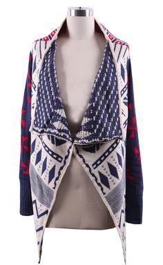 Navy Draped Collar Geo Tribal Pattern Open Cardigan - Sheinside.com