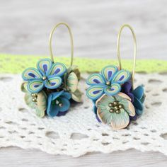 Ever lasting flowers *peacock* - earrings, lace, romantic, elegant, unique, girlfriend, present