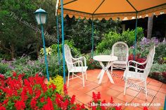Round Tile Floor Patio - This is a great idea for a small garden or simple sitting area.