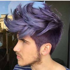 Man with purple metallic mohawk and beard men purple hair, hair color for men, Men Purple Hair, Blue Hair, Metallic Hair Dye, Bobs Blondes, Mens Hair Colour, Hair Colors, Tapered Haircut, Coloured Hair, Short Hair