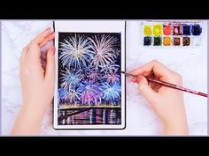 Easy Way How to Paint Watercolor Fireworks For Beginners! Art Journal Thursday Ep. 29 - YouTube