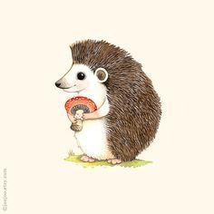 Vivaio di Woodland Hedgehog stampa illustrazione di di joojoo