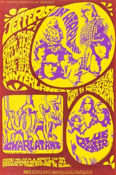 Jefferson Airplane/Charlatans/Blue Cheer, October 11 & 12, 1967, Fillmore West & October 13 & 14, 1967, Winterland Art by Bonnie MacLean