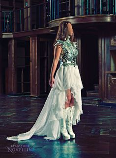 ♕ Victorian-inspired couture gown made of broken glass mirrors and silk chiffon