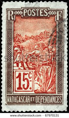 № ~ stock photo : MADAGASCAR - CIRCA 1916: A Stamp printed in MADAGASCAR shows the Transportation by Sedan Chair, circa 1916