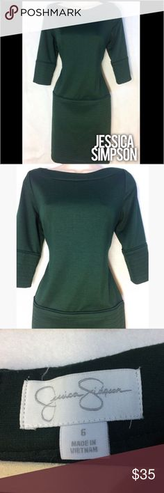 "Jessica Simpson Boatneck Drop Waist Dress - 6 Dark green 3/4 sleeve dress. Approx 35"" long. Jessica Simpson Dresses Midi"
