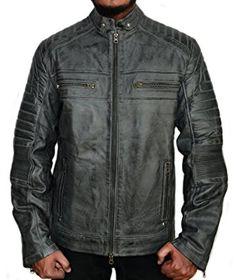 96fb62e21f Leather Madness - Cafe Racer Vintage Grey Wax Men s Biker Leather Jacket (XS )