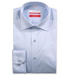 Slim Fit priliehavá modrá jednofarebná košeľa Satén (atlasová tkanina)