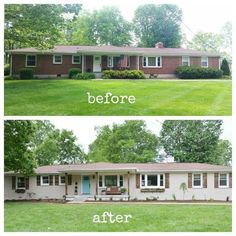 sublime painted brick houses before and after painted brick ranch painted brick ranch houses about remodel design wallpaper with painted brick ranch houses painted brick ranch style homes painted bric Painted Brick Ranch, Painted Brick Exteriors, Painted Bricks, Painted Brick Homes, Painted White Brick House, Exterior House Colors, Exterior Paint, Exterior Design, Diy Exterior
