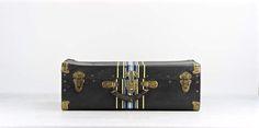 Black Suitcase With Stripes Vintage Black Suitcase Vintage