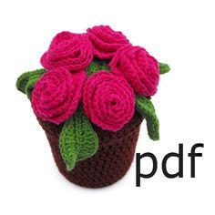 Crochet Pattern for flowerpot full of roses by RoseCottageCraftsUK, £2.00