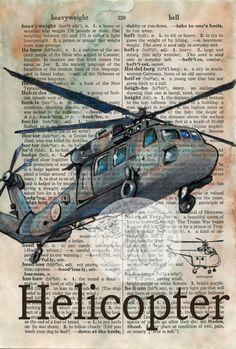 Druck: Hubschrauber Mischtechnik Zeichnung auf Distressed, Dictionary Page