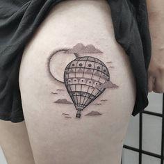 """791 Likes, 4 Comments - Ben Doukakis Tattoo (@bendoukakistattoo) on Instagram: """"Little Hot Air Balloon for Hannah, thank you  @lighthouse_tattoo"""""""