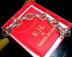 CHIC Kenneth Jay Lane KJL Gold Serpent Snake Bracelet Blue Red Enamel  #KennethJayLane #RunwayDesignerHauteCoutureSnakemotif